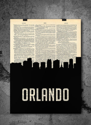 Orlando Skyline Florida Cityscape Silhouette Vintage Upcycled Dictionary Print - Florida Art Prints