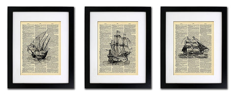 Nautical Sailboat Ships - Triple Print - Vintage Dictionary Print