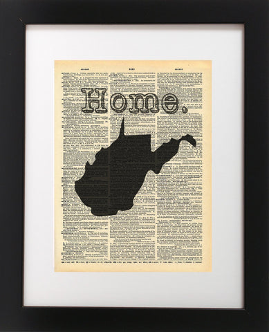 West Virginia Map Vintage Dictionary Print