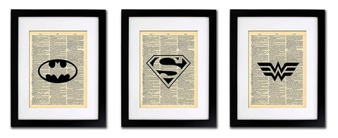 Superhero Batman Superman Wonder Woman - 3 Print Set - Vintage Dictionary Print