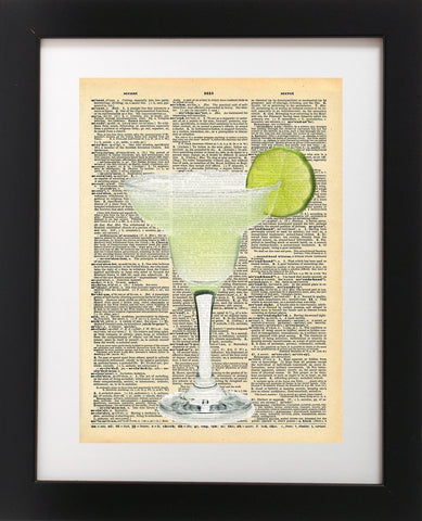 Margarita Glass Lime Vintage Dictionary Print