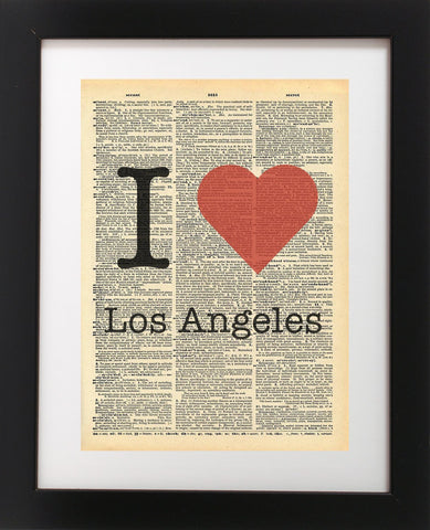I Heart Los Angeles Vintage Dictionary Print
