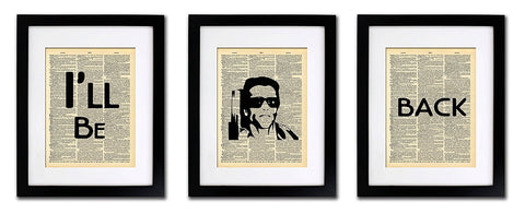 Terminator I'll Be Back Quote - 3 Print Set - Vintage Dictionary Print