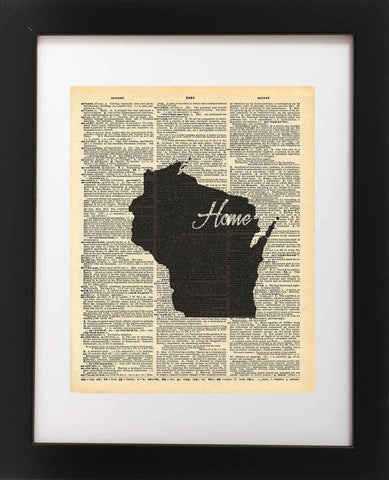 Wisconsin State Vintage Map Vintage Dictionary Print