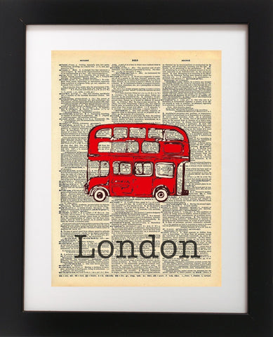 London Red Bus Vintage Dictionary Print 8x10 inch - Local Vintage Prints
