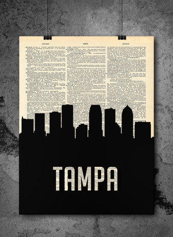 Tampa Skyline Florida Cityscape Silhouette Vintage Upcycled Dictionary Print - Florida Art Print