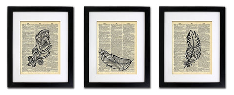 Feathers In The Wind - 3 Print Set - Vintage Dictionary Prints