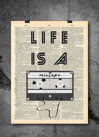 Life Is A Mixtape Quote Dictionary Art Print - Vintage Dictionary Print - Wall Art