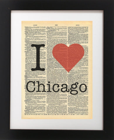 I Heart Chicago Vintage Dictionary Print