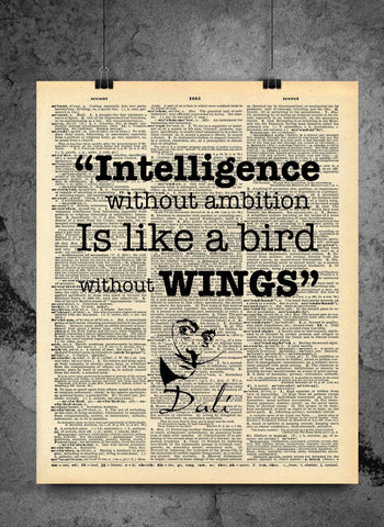 Salvador Dali Quote - Intelligence without Ambition is a Bird Without Wings - Vintage Dictionary Print