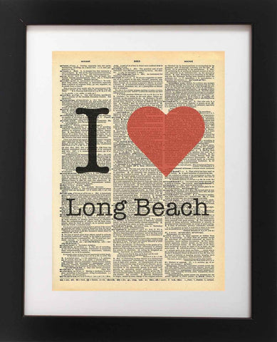 I Heart Long Beach California Vintage Dictionary Print