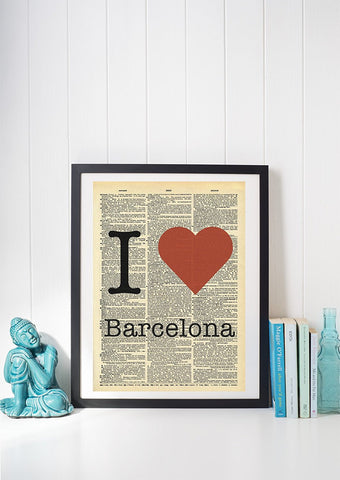I Heart Barcelona Vintage Dictionary Print