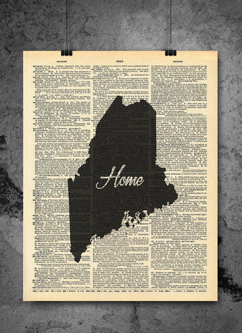 Maine State Vintage Map Vintage Dictionary Print