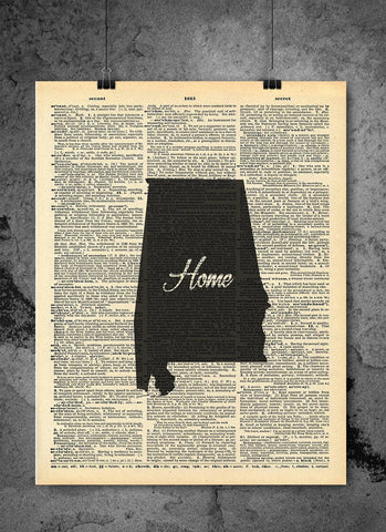 Alabama State Art Print | Home - Local Vintage Dictionary Wall Art Print - Authentic Artwork Prints