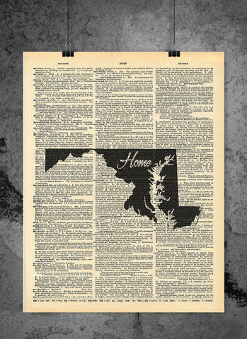 Maryland State Vintage Map Vintage Dictionary Print