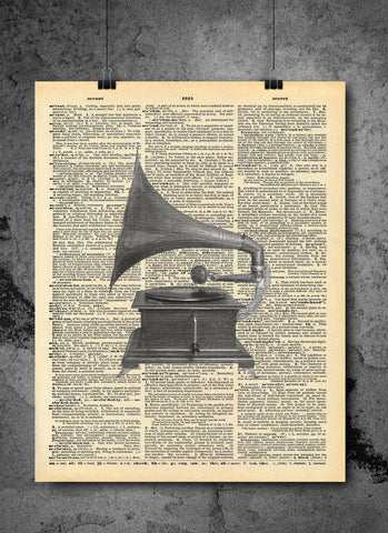 Gramophone Vintage Musical Instrument Vintage Dictionary Print