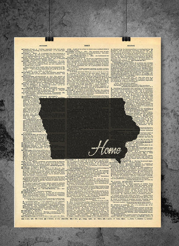 Iowa State Vintage Map Vintage Dictionary Print