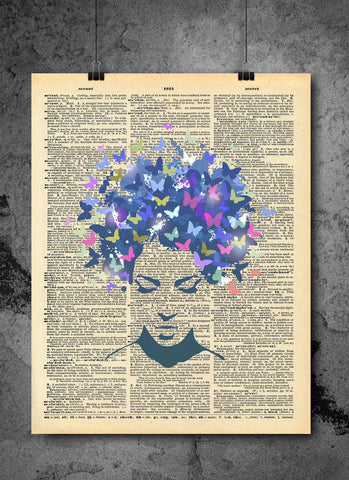 Butterfly Dreams Art on Vintage Dictionary Wall Art Print - Butterfly Wall Art