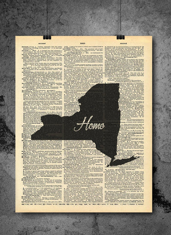 New York State Vintage Map Vintage Dictionary Print