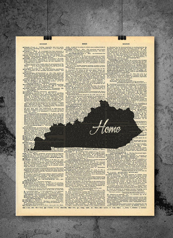 Kentucky State Vintage Map Vintage Dictionary Print