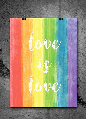 Rainbow Watercolor Pride Love