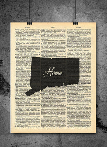 Connecticut State Art Print | Home - Local Vintage Dictionary Wall Art Print - Authentic Artwork Prints