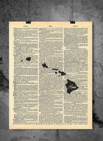 Hawaii State Vintage Map Vintage Dictionary Print