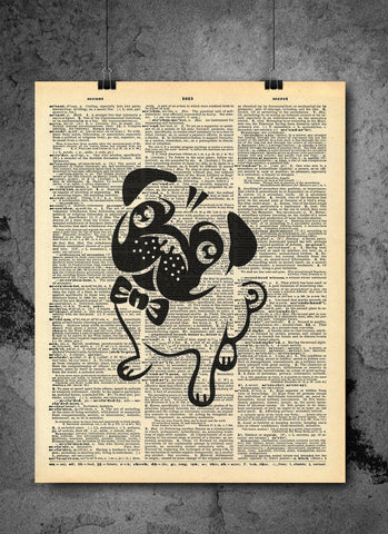 Cute Pug Dog Black Outline In Bowtie - Dog Collection Animal Art - Vintage Dictionary Art Print