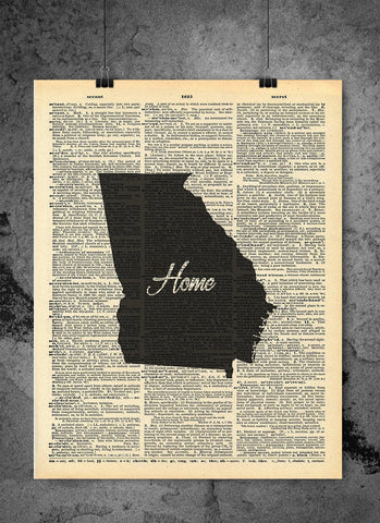 Georgia State Vintage Map Vintage Dictionary Print 8x10 inch