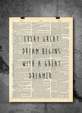 Every Great Dream Quote Dictionary Art Print - Vintage Dictionary Print - Wall Art