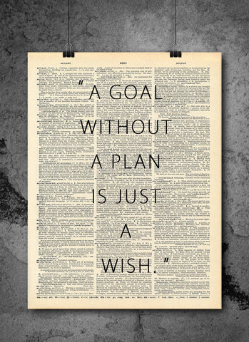 Goal Without A Plan Is A Wish Quote Dictionary Art Print - Vintage Dictionary Print