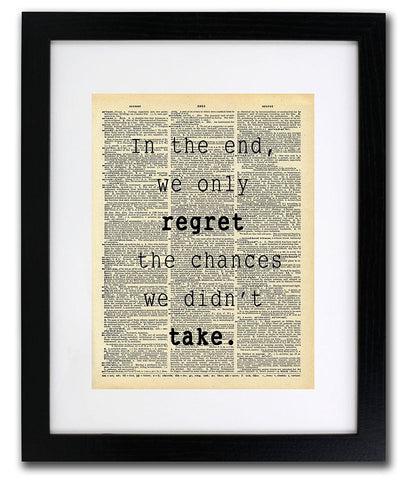 Regret Chances We Didn't Take Quote Dictionary Art Print - Vintage Dictionary Print