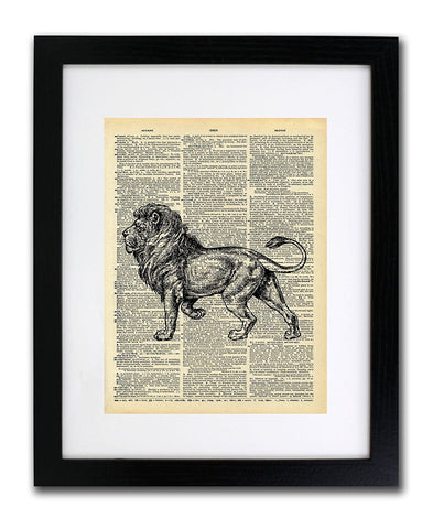 Vintage Lion Drawing - Vintage Dictionary Print