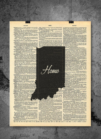 Indiana State Vintage Map Vintage Dictionary Print