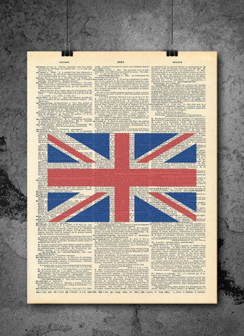 London Union Jack Vintage Dictionary Print