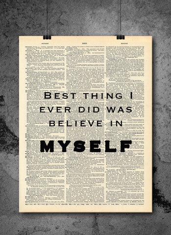 I Believe In Myself Quote Dictionary Art Print - Vintage Dictionary Print - Wall Art