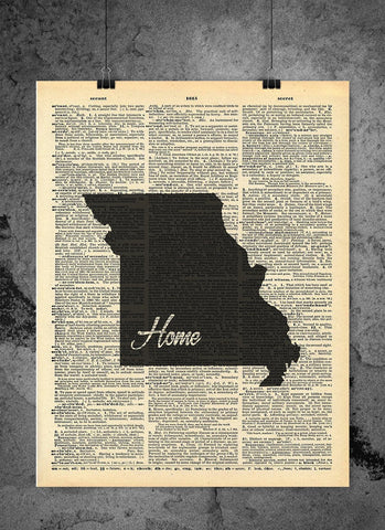 Missouri State Vintage Map Vintage Dictionary Print