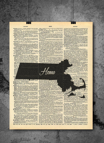 Massachusetts State Vintage Map Vintage Dictionary Print