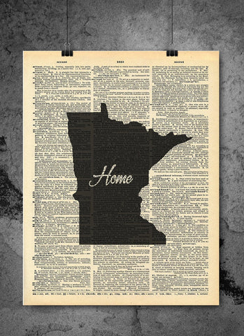 Minnesota State Vintage Map Vintage Dictionary Print 8x10 inch
