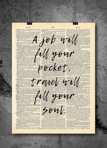 Travel Will Fill Your Soul Quote Dictionary Art Print - Vintage Dictionary Print - Wall Art