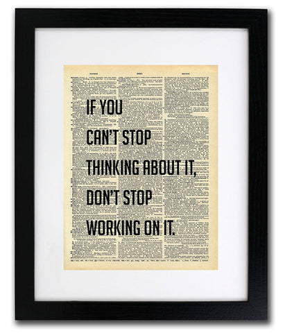 If You Can't Stop Thinking Quote Dictionary Art Print - Vintage Dictionary Print