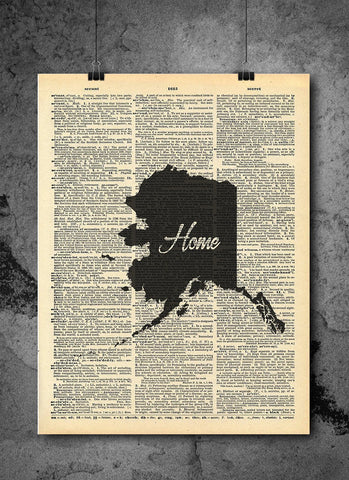 Alaska State Vintage Map Vintage Alaska State Art Print | Home - Local Vintage Dictionary Wall Art Print - Authentic Artwork Prints Print