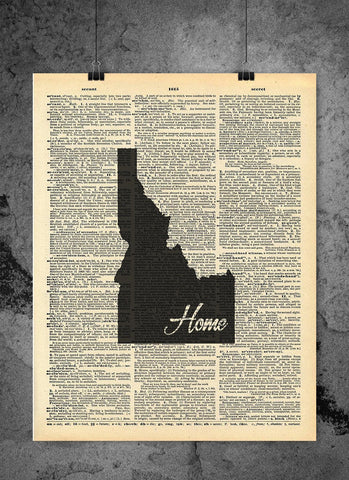 Idaho State Vintage Map Vintage Dictionary Print