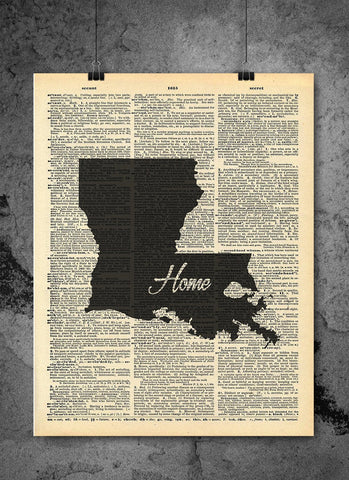 Louisiana State Vintage Map Vintage Dictionary Print