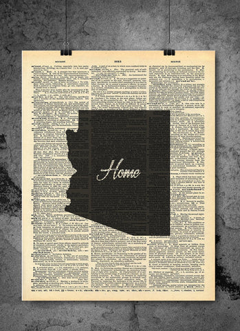 Arizona State Art Print | Home - Local Vintage Dictionary Wall Art Print - Authentic Artwork Prints