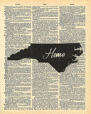 North Carolina State Vintage Map Vintage Dictionary Print
