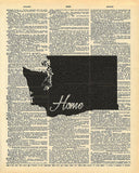 Washington State Vintage Map Vintage Dictionary Print