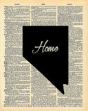 Nevada State Vintage Map Vintage Dictionary Print