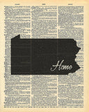 Pennsylvania State Vintage Map Vintage Dictionary Print