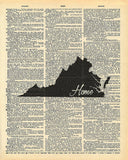 Virginia State Vintage Map Vintage Dictionary Print